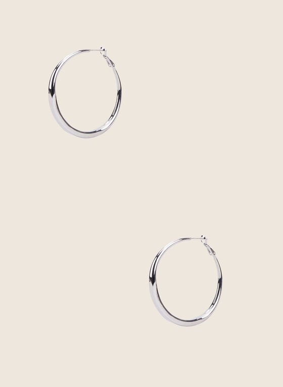 Metallic Hoop Earrings, Silver