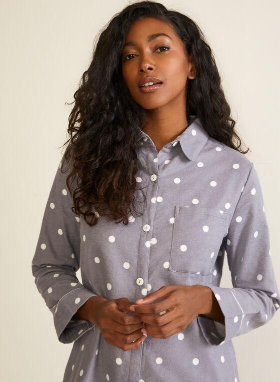 Polka Dot Print Flannel Nightshirt, Grey