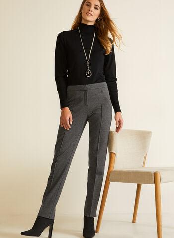 Pantalon coupe moderne motif pied-de-poule, Noir,  automne hiver 2020, jambe droite, pied-de-poule, imprimé, coupe moderne