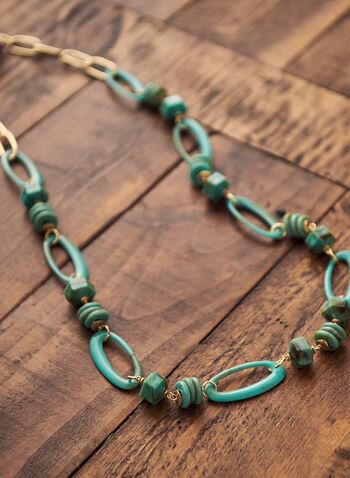 Collier à maillons en résine et pierres, Bleu,  accessoires, bijoux, collier, pierres, résine, maillons, métal, printemps été 2021