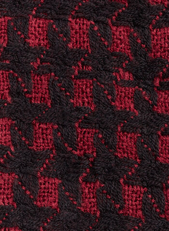 Foulard tricot à carreaux et franges, Rouge, hi-res