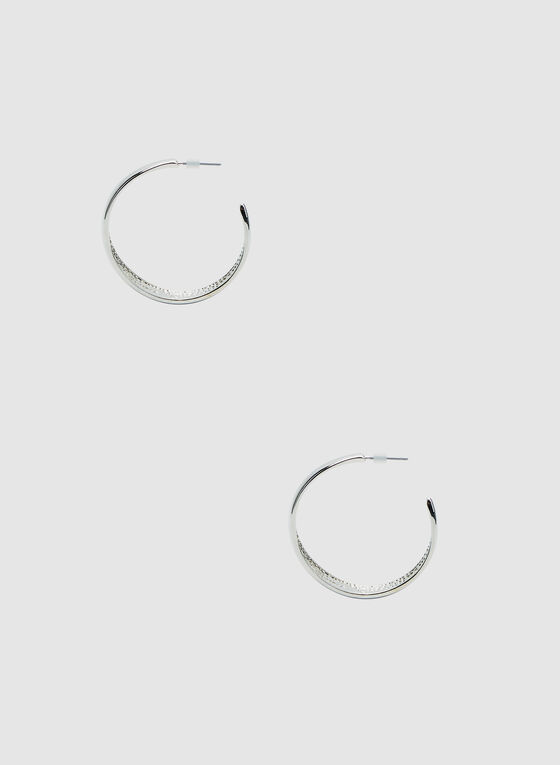 Large Hoop Earrings, Silver, hi-res