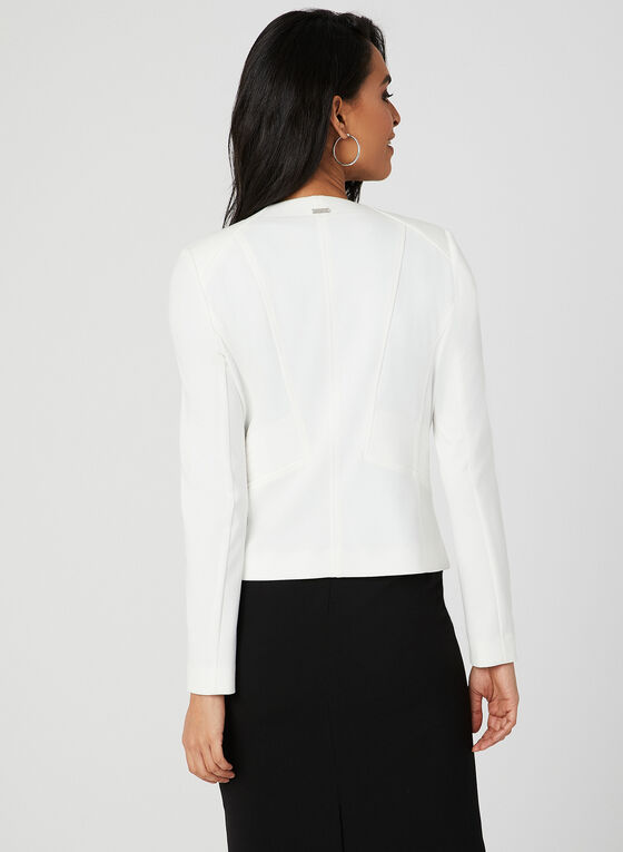 Long Sleeve Open Front Jacket, Off White