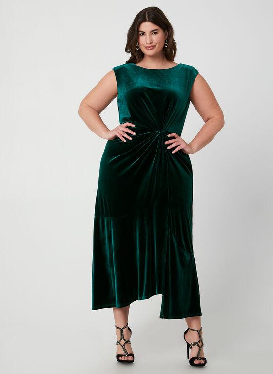 Robe en velours à effet torsadé, Vert
