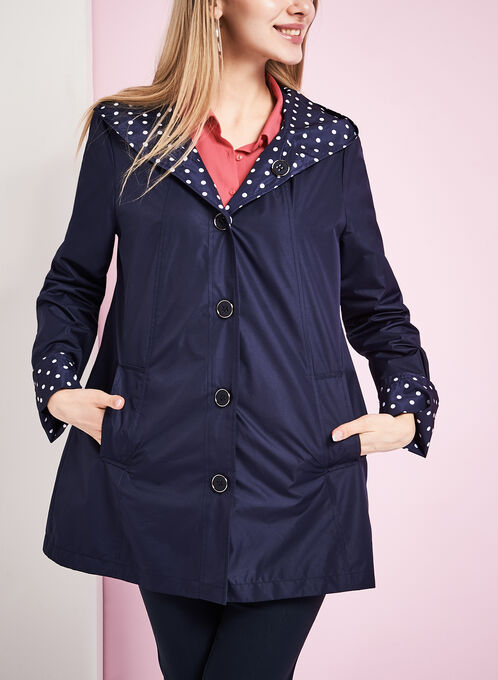 Reversible A-Line Dot Print Raincoat, Blue, hi-res