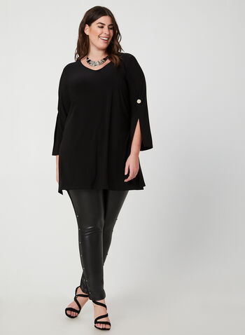 Tunic With Slit Sleeves, Black,  canada, long sleeves, slit sleeves, tunic, top, jersey top, jersey, comfortable, fall 2019, winter 2019