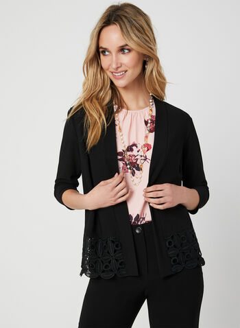 Crochet Trim Open Front Top, Black, hi-res,  shawl collar, crochet, 3/4 sleeves, cover up, ¾ sleeves, fall 2019