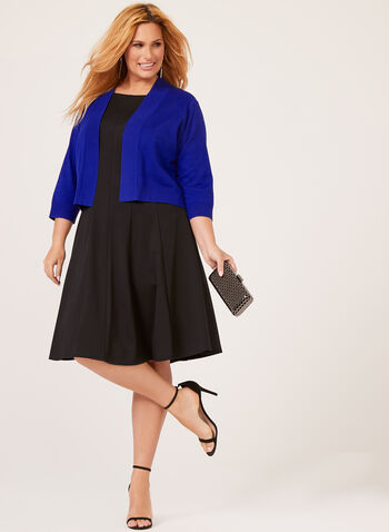 Open Front ¾ Sleeve Bolero, Blue, hi-res