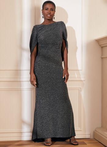 Robe drapée à fils métallisés, Noir,  métallique, brillante, scintillante, robe de soirée longue, automne hiver 2020