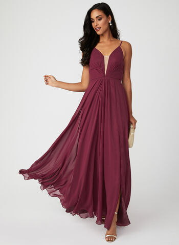 Deep V Chiffon Dress, Red, hi-res