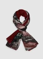 Stripe Print Scarf, Red, hi-res