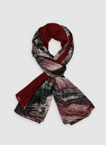 Foulard à rayures diagonales, Rouge, hi-res,  foulard, oblong, rayures, automne hiver 2019
