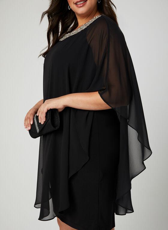 Robe en mousseline de soie et col bijou, Noir, hi-res