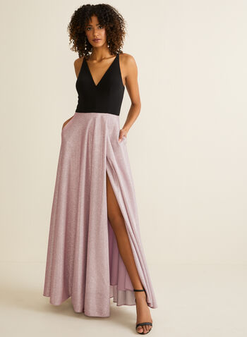V-Neck Jersey & Glitter Dress, Pink,  prom dress, gown, a-line, v-neck, glitter, jersey, full length, train, spring summer 2020