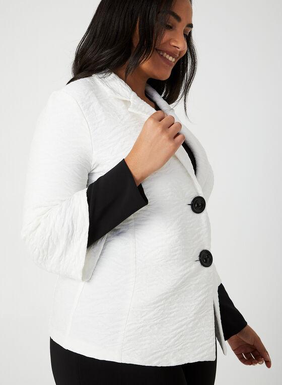 Joseph Ribkoff - Contrast Sleeve Knit Jacket, White