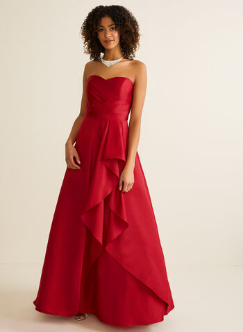 Strapless Sweetheart Neck Ball Gown, Red,  prom dress, ball gown, satin, sweetheart, strapless, pleated, flounce, full length, zipper, crinoline, spring summer 2020