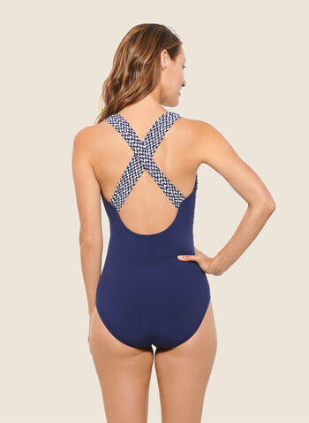 Christina - Abstract Print V-Neck Swimsuit, Blue,  swimsuit, swimwear, abstract print, v-neck, one piece, fall winter 2020