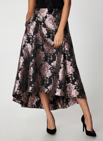 Floral Brocade Skirt, Black, hi-res,  skirt, floral print, brocade, floral brocade, metallic, long skirt, high-low, holiday, fall 2019, winter 2019