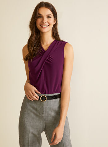 Sleeveless Twist Detail Top, Purple,  top, sleeveless, twist, fall winter 2020