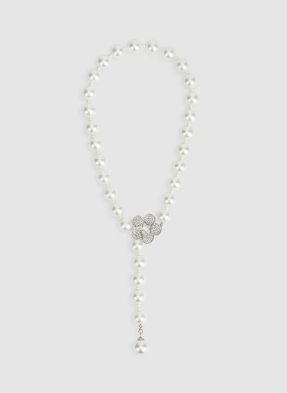 Collier Y à perles et fleur en cristaux, Blanc cassé