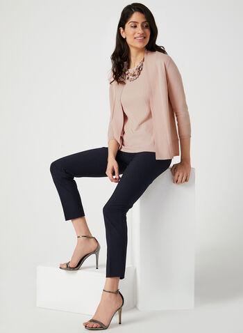 Edge To Edge Ribbed Cardigan, Pink,  open-front sweater, viscose cardigan, rayon cardigan, knit cardigan