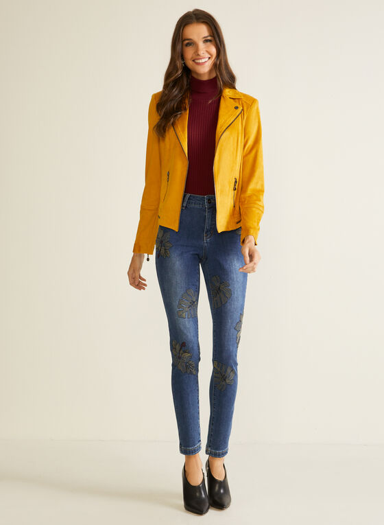 Zipper Detail Faux Suede Jacket, Yellow