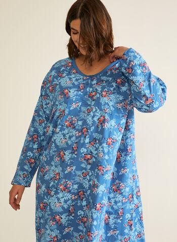 Floral Print Nightgown, Blue,  fall winter 2020, pajamas, nightgown, pyjamas