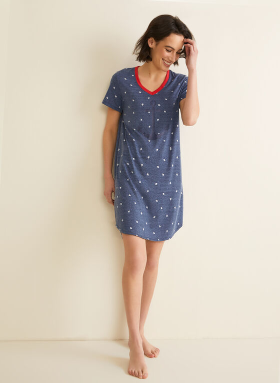 Claudel Lingerie - Anchor & Boat Motif Nightshirt, Blue