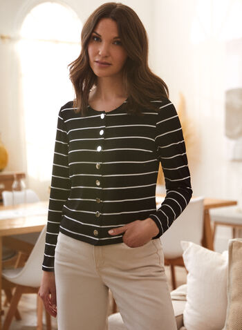 Stripe Print Cardigan, Black,  spring summer 2021, tops, cover up, cover-up, boat neck, round neck, crew neck, button up, button down, striped, horizontal stripes,