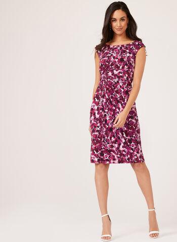 Bubble Print Faux Wrap Dress, Pink, hi-res