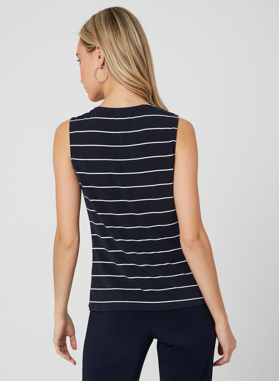 Stripe Print Sleeveless Top, Blue
