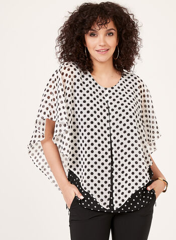 Dot Print Poncho Blouse, White, hi-res