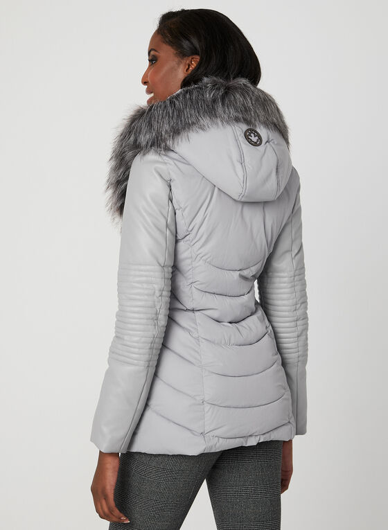 Ellabee - Faux Down Quilted Coat, Grey, hi-res