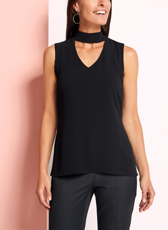 Sleeveless Choker Top, Black, hi-res