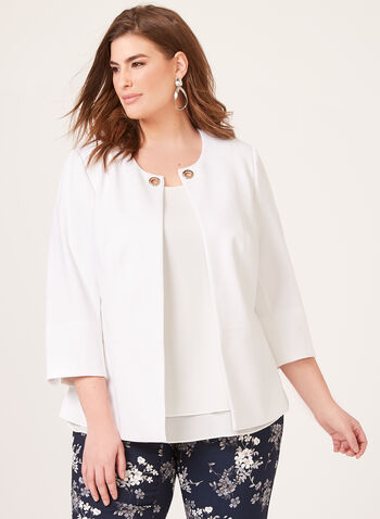 ¾ Sleeve Crepe Jacket, Off White, hi-res