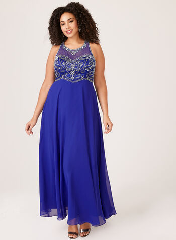 Beaded Detail Chiffon Dress, Blue, hi-res