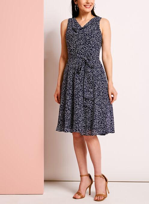 Ditsy Print Drape Front Fit & Flare Dress, Blue, hi-res