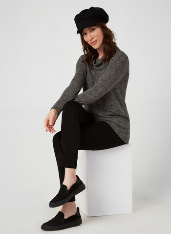 Cowl Neck Top, Black,  top, long sleeves, 3/4 sleeve, knit fabric, fall winter 2019