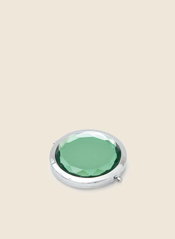 Faceted Stone Top Compact Mirror, Green,  accessories, beauty, mirror, compact, stone, round, holiday, holiday 2020, gift, fall winter 2020