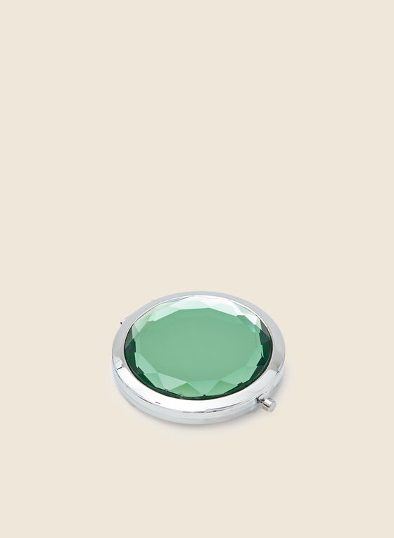 Faceted Stone Top Compact Mirror, Green