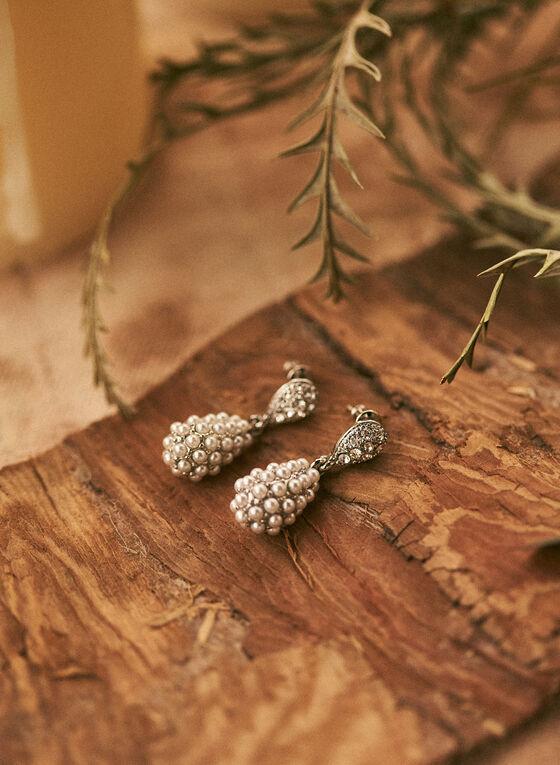 Boucles d'oreilles à grappe de perles, Blanc cassé