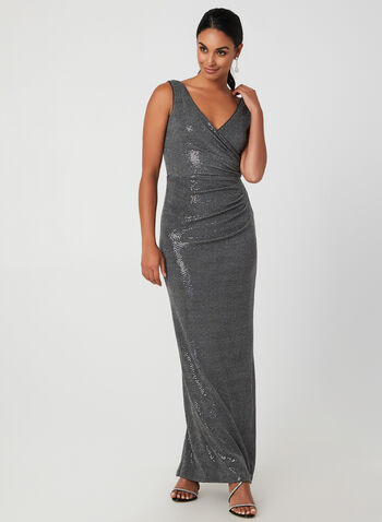 Metallic Faux-Wrap Gown, Grey,  dress, evening gown, faux-wrap, jersey, sequined fabric, fall 2019, winter 2019