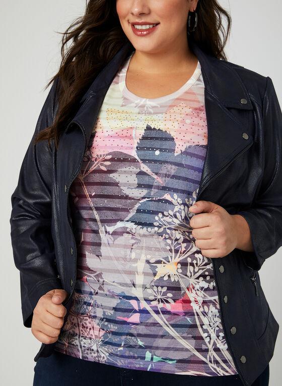 T-shirt à imprimé floral et cristaux , Violet, hi-res