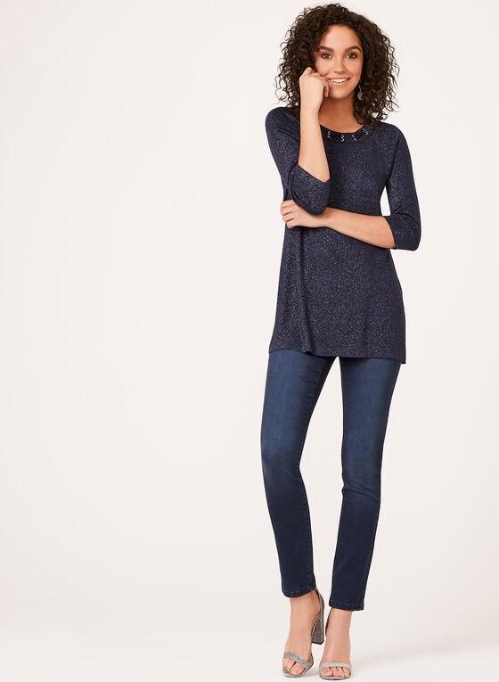 Tunique tricotée en lurex avec col entrelacé, Bleu, hi-res