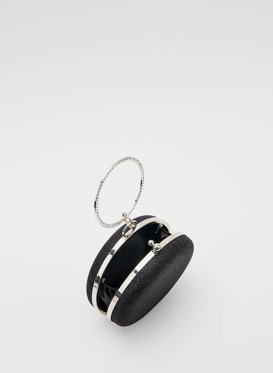 Crystal Wristlet Round Clutch, Black, hi-res