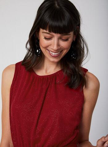 Sleeveless Glitter Dress, Red,  dress, cocktail dress, sleeveless, glitter, ruffles, fall 2019, winter 2019