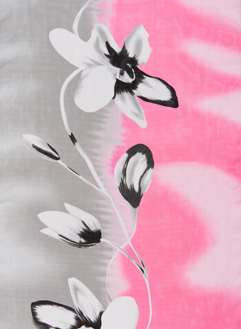 Floral Watercolour Print Scarf, Pink, hi-res