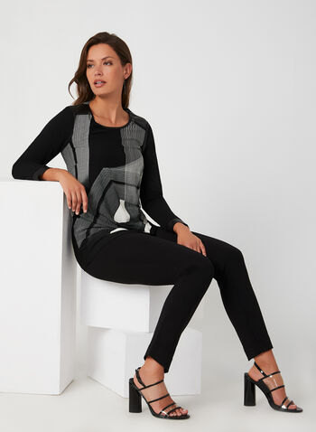 Geometric Print Top, Black,  long sleeves, top, Canada, tunic, geometric, fall 2019, winter 2019