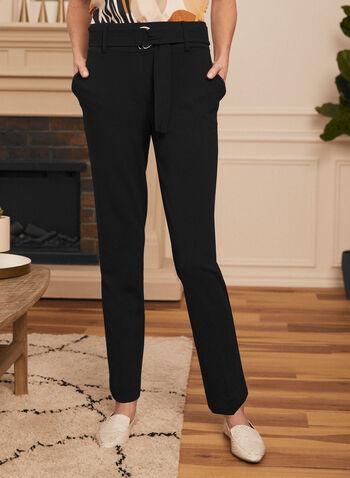 Belted Slim Leg Pants, Black,  pants, slim leg, belted, pockets, pleats, spring summer 2020