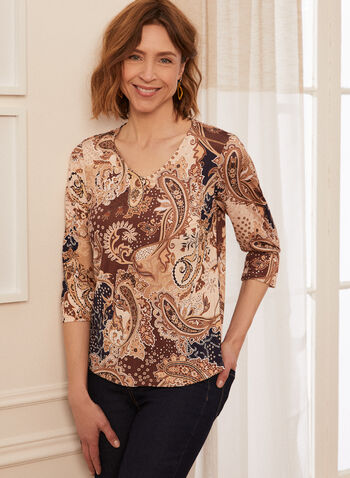 Paisley Print Blouse, Brown,  spring summer 2021, top, v neck, paisley print, ruffle sleeves, round hem